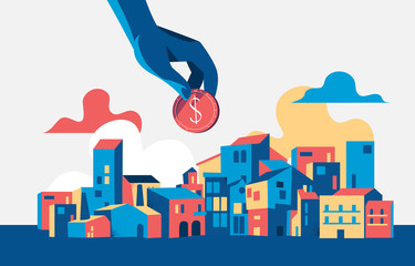 Concept of investing in urban development. Vector illustration