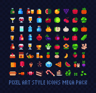Food pixel art icons mega big set, glasses, bottles, fruits, vegetables, sweets, tea, drinks, sweets, juice. Design for stickers, logo, web and mobile app. Isolated vector illustration. 8-bit sprite.