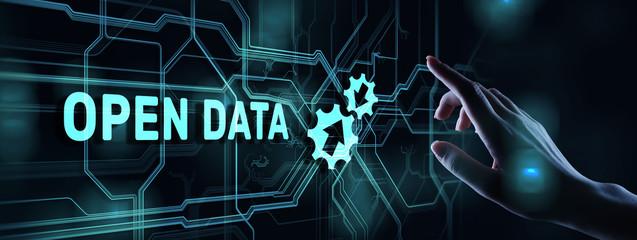 Wall Mural - Open data database integration api internet technology concept.