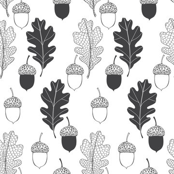 Oak leaves and acorns. Seamless vector pattern on white background. Nature monochrome background.