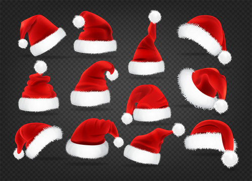 Christmas Santa Claus caps set, vector illustration. Isolated on a transparent background. Realistic Santa's hat for xmas. Winter clothes.