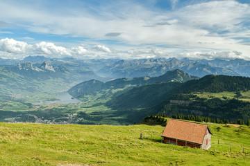 Beautiful view on Swiss Alps from top of Mount Rigi, Switzerland