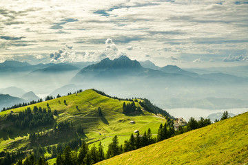 Printed kitchen splashbacks Beige Beautiful view on Lake Lucerne, Mount Pilatus and Swiss Alps from top of Rigi Kulm