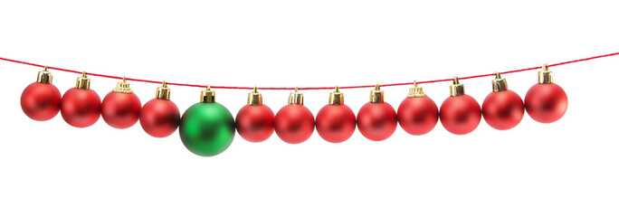 Border made of red christmas baubles and one green christmas ball on strings isolated on white