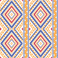 Peru ikat tribal pattern vector seamless. Ethnic border african fabric texture. Traditional knitted embroidery art print. Zulu background for home textile, blanket, cushion, clothing and backdrop.