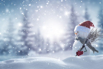 Merry christmas and happy new year greeting card with copy-space.Happy snowman standing in...