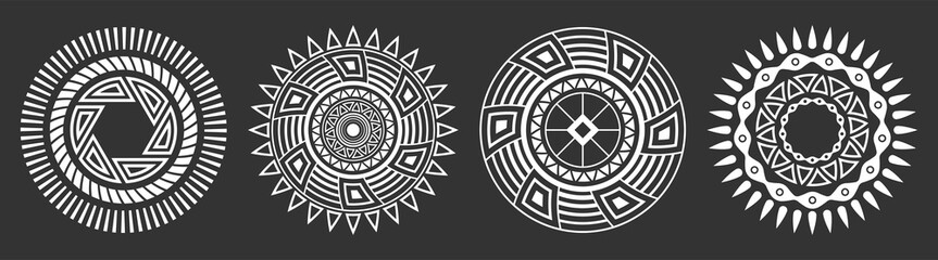 Set of four abstract circular ornaments. Decorative patterns isolated on black background. Fotomurales