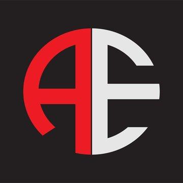 AE Initial Logo design Monogram Isolated on black background