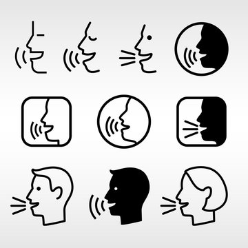 Speak head technology signs. Talk icons, speaking or talking man faces, vector speech informing symbols, voice dictator pictograms, speaker loud control buttons