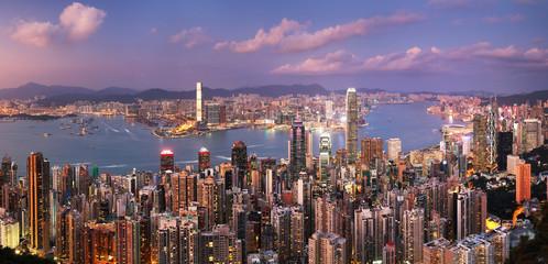 Fotomurales - Hong Kong at night skyline