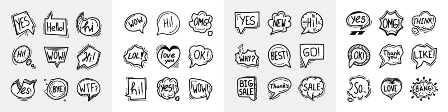 Hand drawn speech bubbles icons mega collection, thinking talking doodles