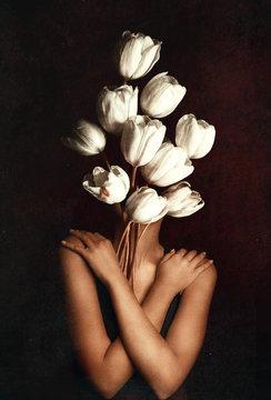 Woman holding a flower, Woman like flower