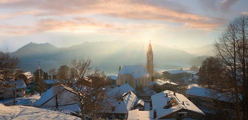 schliersee village, view from weinberg hill in winter
