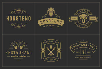 Restaurant logos templates set vector illustration good for menu labels and cafe badges