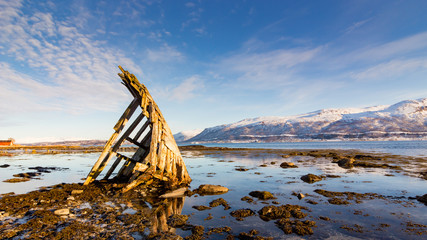 Acrylic Prints Shipwreck Wooden Ship Wreck in Tisnes Norway