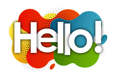 hello in color bubble background