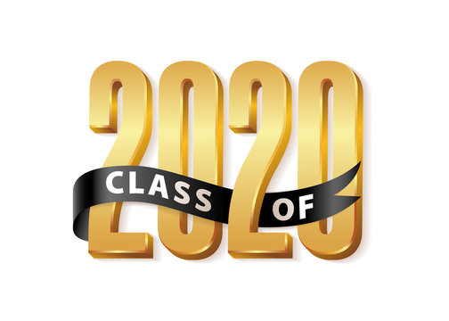 Class of 2020 Gold Lettering Graduation 3d logo with black ribbon. Template for graduation design, party, high school or college graduate, yearbook. Vector illustration