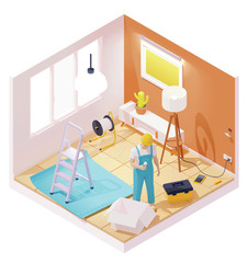 Vector isometric electrician working in house room. Electrician holding led light bulb, fixing socket or electric light switch, working with wires, installing or repairing lights