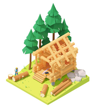Vector isometric carpenter or lumberjack cutting tree with chainsaw for log cabin or home building. Wooden house construction process, working on walls and roof. Swedish cope log profile