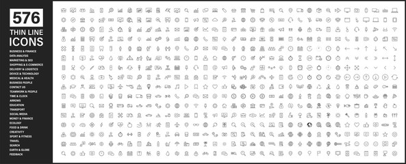 Big collection of 576 thin line icon. Web icons. Business, finance, seo, shopping, logistics, medical, health, people, teamwork, contact us, arrows, technology, social media, education, creativity.