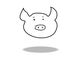 Pig icon on white background, flat design, hand drawing. Illustration of food, contour of symbol black