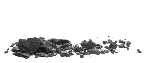 Coal chunks pile isolated on white background