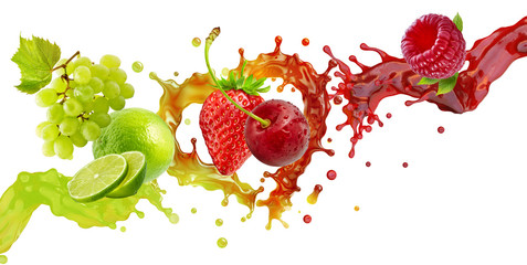 Fresh ripe grape, lime, strawberry, raspberry, cherry juice or smoothie mix splash swirls beverage. Healthy nutrition diet green and red fruit berry juice drink mix 3D splashes with fruits and berries