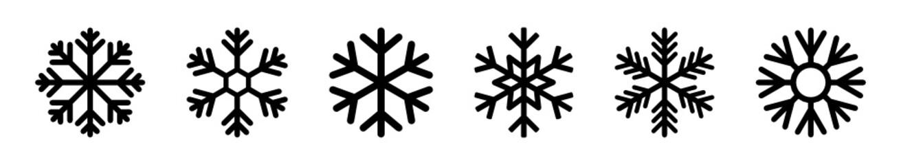 Fototapeta płatki śniegu zestaw ikon