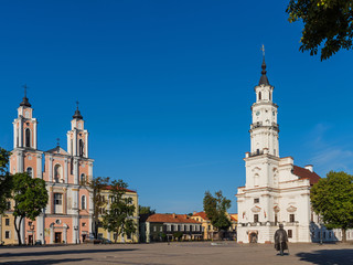 Kaunas - Jesuit church of St. Francis Xavier and the White Swan Town Hall in the center of Kaunas in Lithuania