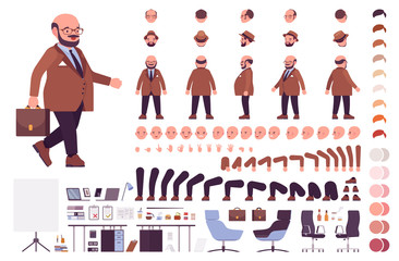 Chubby heavy kind businessman with a round belly construction set. Overweight, plus size formal wear, fat body shape creation elements to build own design. Cartoon flat style infographic illustration