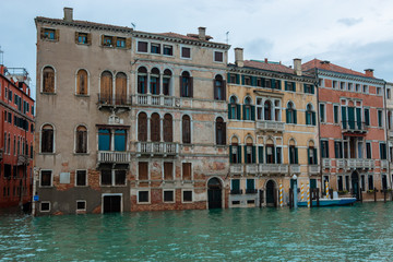 high water in Venice high tide buildings and flooded streets