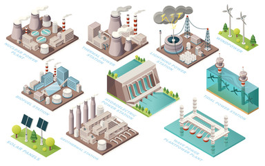Fototapeta Alternative energy and power plants and green electric energy generation stations, vector isometric icons. Solar panels, bio fuel, thermal or geothermal, nuclear, tidal and water wave power stations
