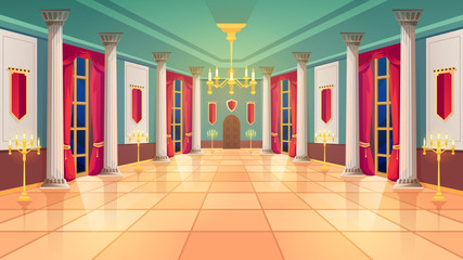 Ballroom hall, Medieval palace room, royal castle interior, vector background. King ballroom with luxury interior, marble columns and curtains, golden candelabra and candle lamps, fairy tale design