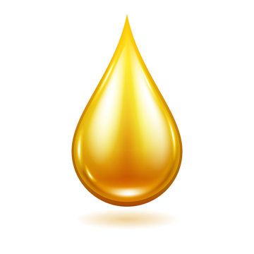 Oil drop vector illustration. Yellow liquid droplet.