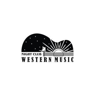 night club western music saloon logo vector guitar