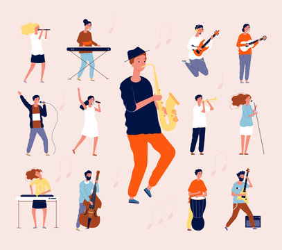 Music persons. Rock classical musical performing musicians singing and playing orchestra instruments guitar drum violin vector flat. Illustration music concert, musician with guitar instrument