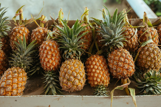 Yellow Pineaple on the Market in Asia