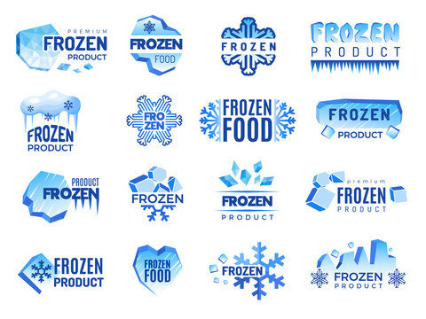 Ice product logo. Frozen food business identity blue vector cold graphic elements. Snowflake product, frozen temperature badge for refrigerator illustration