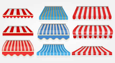 Stripped window canopy. Roof of grocery cafe stored shopping tent outdoor collection vector pictures. Sunshade striped, showcase stripped, storefront street design illustration