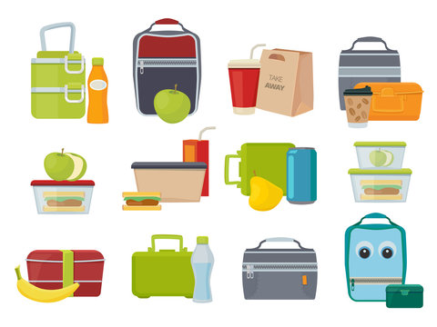 Lunch box. Fruits and vegetables for kids dinner lunch drinks and foods banana juice sandwich product packages vector. Illustration rucksack with lunch, sandwich and drink