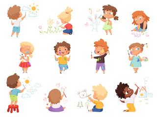 Kids painters. Paint splashes on kids clothes childrens with pallette and colored brushes hand holding vector characters. Illustration child drawing cartoon image, happy children with colored pencils