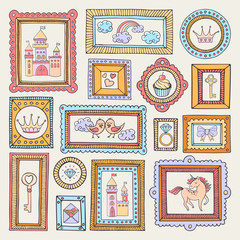 Fairytale hand drawn set of picture frames with castles, birds, unicorn and crowns. Magic colorful collection