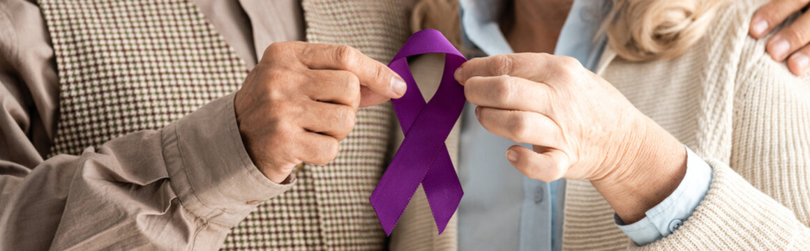 panoramic shot of senior man and woman holding purple ribbon
