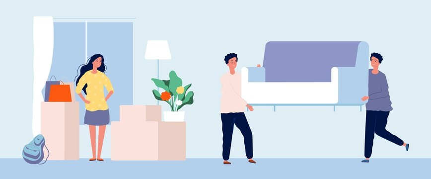 Moving concept. Young woman moves to new apartment. Flat girl moving services, men carry sofa vector illustration. Service transportation and moving sofa, packaging housewarming