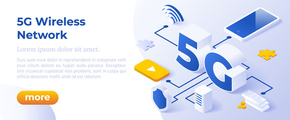 5G Network Wireless Technology Vector Illustration. Isometric Big Letters 5g And Digital Devices. High-Speed Mobile Internet. Using Modern Digital Devices. Web Page Template.