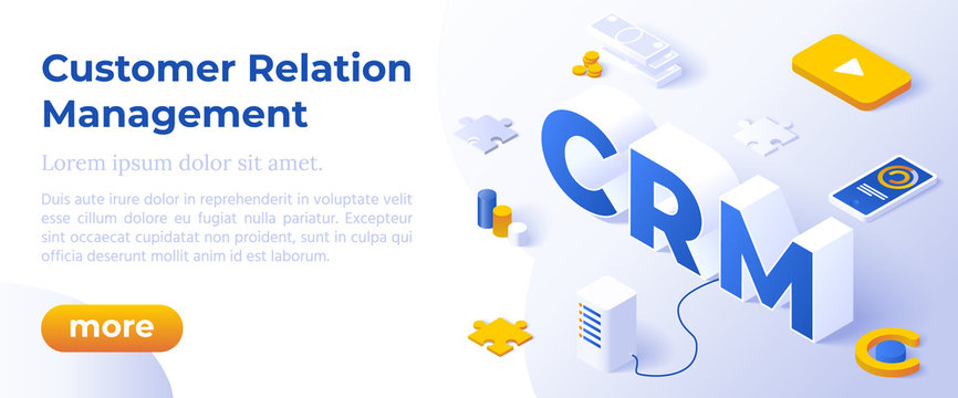 CRM - Customer Relationship Management. Business Solution Concept. Client Support Landing Page.