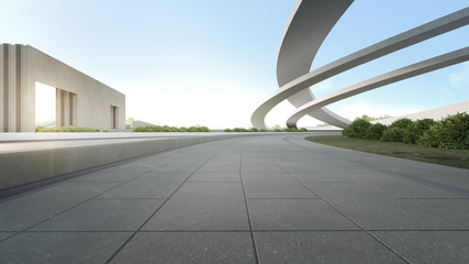 Foto op Canvas Donkergrijs Empty concrete floor in city park. 3d rendering of outdoor space and future architecture with blue sky background.