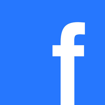 Facebook icon, on blue background, vector