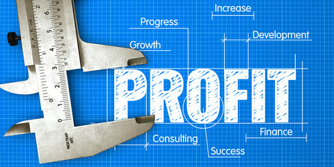 PROFIT Measuring. Business Concept of Measuring Performance for Profit with Blueprint and Caliper.