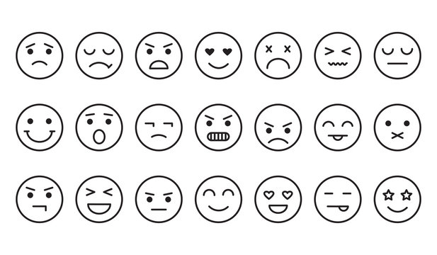 Different emotions, smile face icons, outline design. Vector illustration